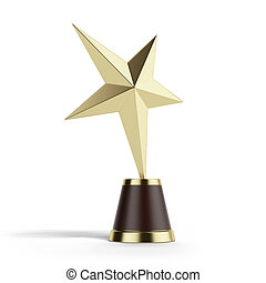 Gold Star Award isolated on a white background