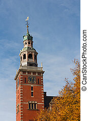 Steeple of City Hall inspired on Dutch Renaissance style,...