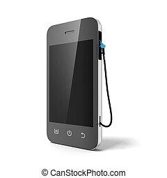 Phone with gas nozzle - Phone with gas nozzle isolated on a...