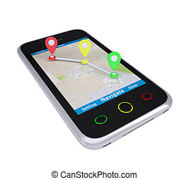 Smartphone with a map marked with the waypoints. Isolated...