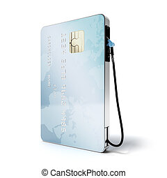 Blue credit card with gas nozzle isolated on a white...