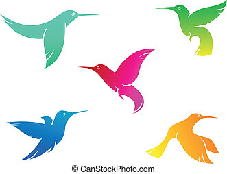 Flying color hummingbirds - Flying hummingbirds set with...