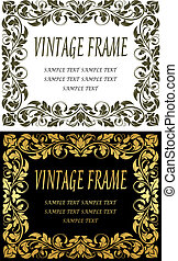 Vintage frames in retro floral style for luxury design
