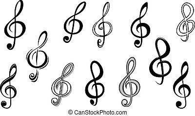 Music note keys set isolated on white for entertainment...