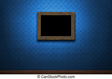Old wooden frame on blue retro grunge wall