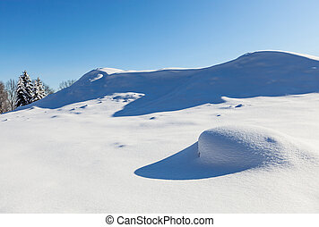 Deserted winter hilly field landscape with beautiful shadows