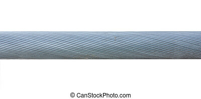 Thick twisted steel cable isolated on white background