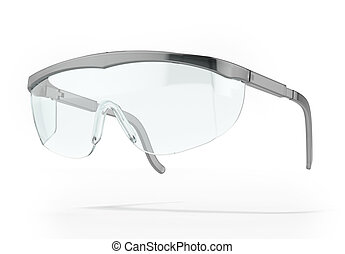 Plastic protection glasses isolated on a white background