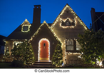 House decorated for Christmas - Suburban house decorated...