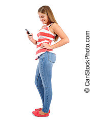 Isolated casual woman - Isolated young casual woman with...
