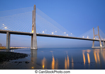 Vasco da Gama Bridge in Lisbon / Portugal