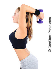 Isolated fitness woman - Isolated young fitness woman with...