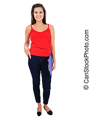 Isolated casual girl - Isolated young casual girl standing