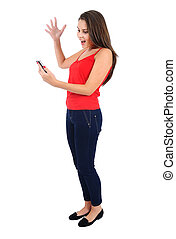 Isolated casual girl - Isolated young casual girl with phone