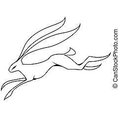 Black and white hare jumping vector - Vector illustration of...