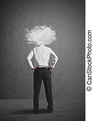 Head in the clouds - Concept of businessman with head in the...