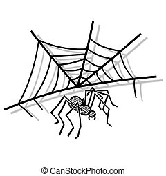 Spider with web - Illustration of a spider web and spider