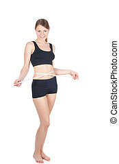 Fitness woman with tape-measure