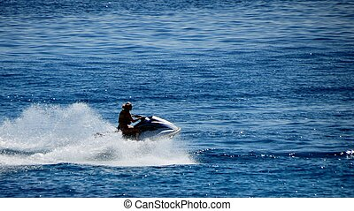 Jet Ski on the Caribbean - Jet ski in the blue Caribbean...