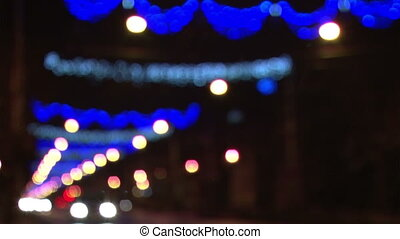 Out of focus Christmas street lights