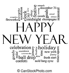 Happy New Year Word Cloud in Black and White - Happy New...