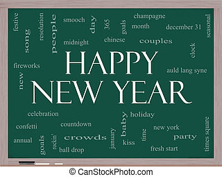 Happy New Year Word Cloud Concept on a Blackboard with great...