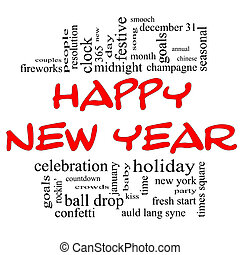 Happy New Year Word Cloud in red and black