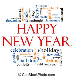 Happy New Year Word Cloud Concept with great terms such as...