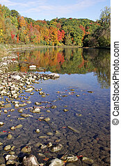 Grand River Autumn Reflection - The Grand River with the...
