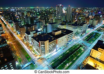 Sapporo Skyline - Buildings in downtown Sapporo, Japan