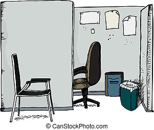 Office Cubicle with Chairs - Isolated office cubicle with...