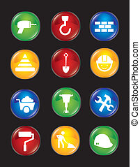 construction icons over black background. vector...