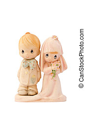 miniature wedding couple doll with white background