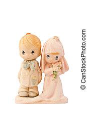 miniatura, casório, par, boneca