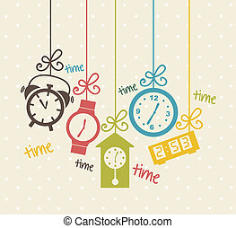 clock icons over beige background. vector illustration