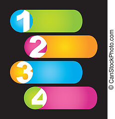 numbers - labels with numbers over black background. vector...
