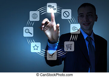 hand pushing on a touch screen - Business person pushing...