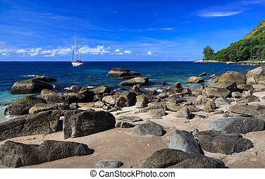 schöne, sommer, sandstrand,  Phuket,  Thailand
