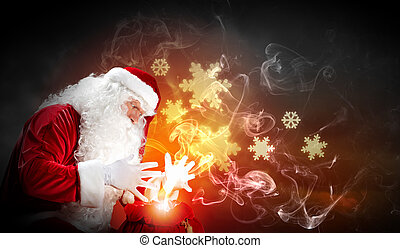christmas theme with santa - Santa with beard and red hat...