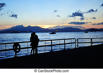 Romantic Sunset - Couple, Sunset, Sea, Romantic and Love
