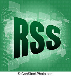 RSS word on digital screen