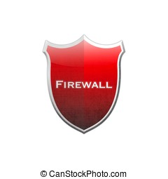 Firewall shield - Illustration with firewall shield on white...