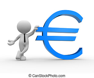 Euro sign - 3d people - man, person leaning on an euro sign