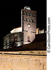 Ibiza Cathedral by night