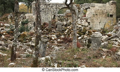 Ancient city of Termessos - Tourist visiting ancient city of...