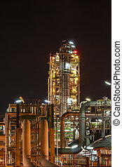 Petro and chemical plant - night scene - Night scene of...