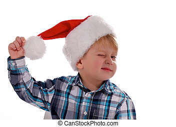 Merry Christmas Boy with Santa Hat