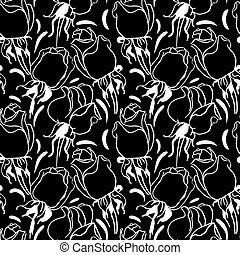 Floral seamless pattern. Black and white illustration