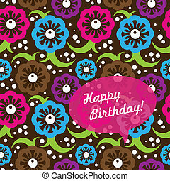 Birthday card with abstract seamless pattern