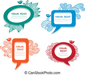 Colorful labelsspeech bubbles set